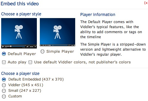 Video embed options